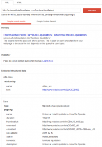 Google structured data tool, click to enlarge